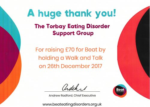 Beat Walk and Talk Certificate Torbay Eating Disorder Support Group